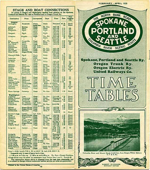 Spokane, Portland, and Seattle Railway, Timetable, February-April 1935