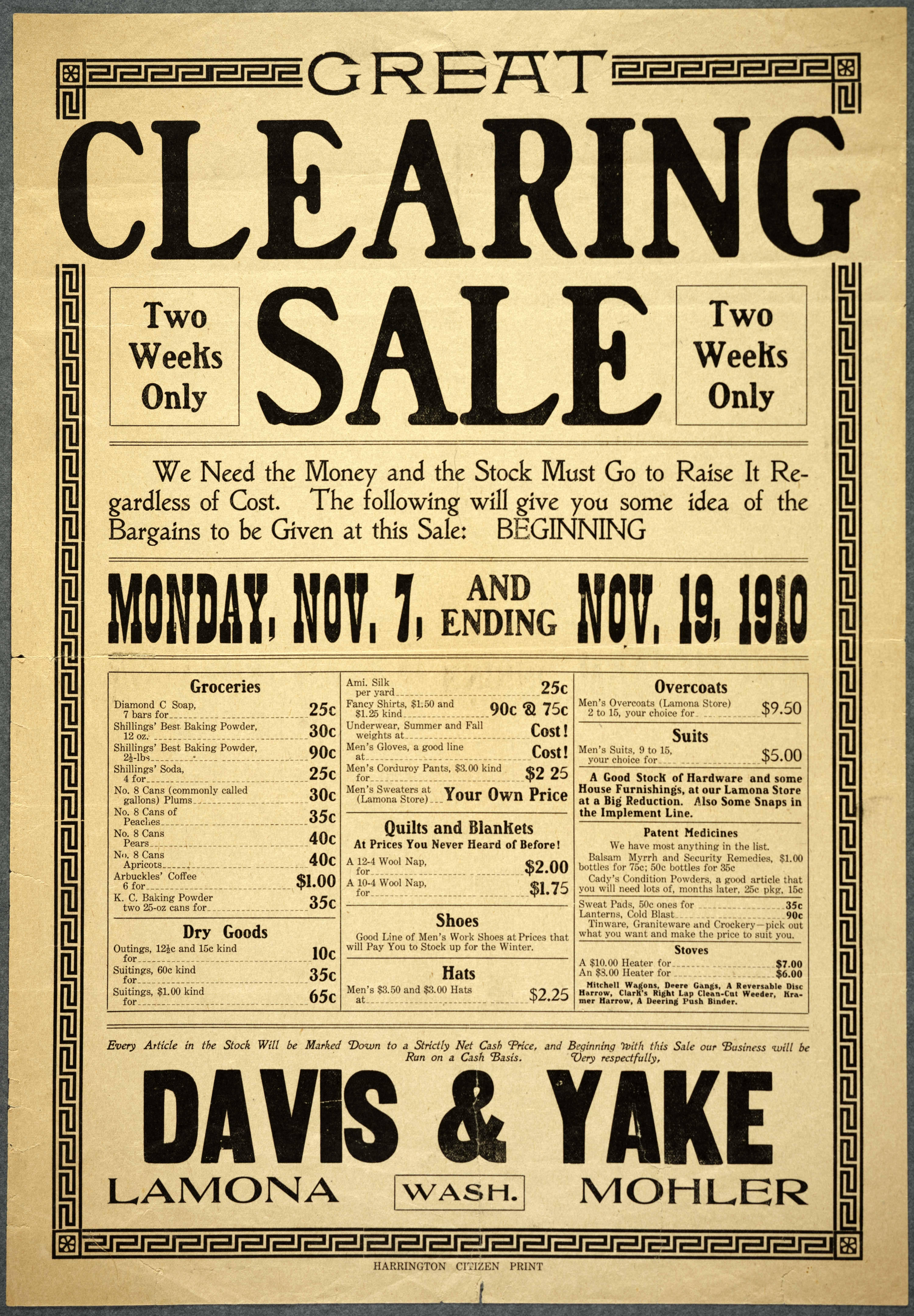 Great Clearing Sale...Davis & Yake, Lamona, Mohler, Wash.
