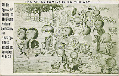 The Apple family is on the way, all the Apples are coming to the Fourth National Apple Show and E-Nak-Ops Jubilee, at Spokane November 23 to 30