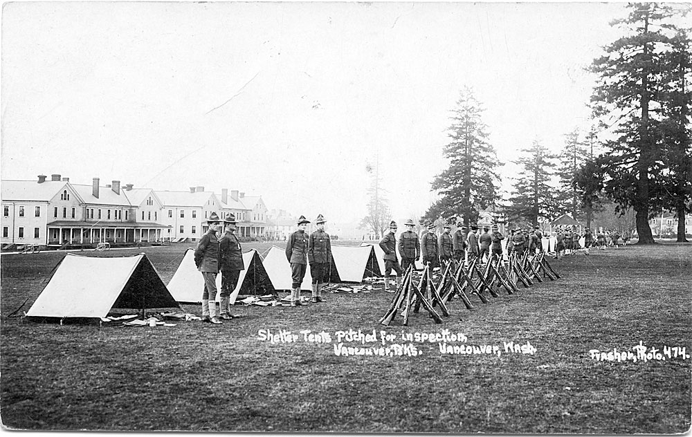 Shelter tents pitched for inspection, Vancouver B'ks, Vancouver, Wash