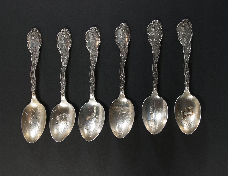 [set of six souvenir spoons]