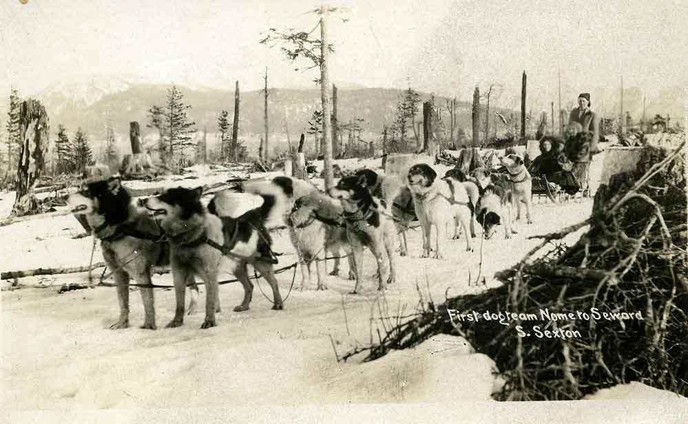 First dog team Nome to Seward