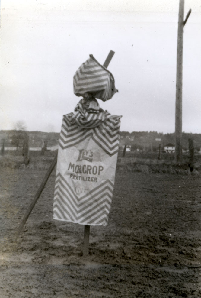 Scare-crow in Kodoyama's farm, Kent, March, 1938
