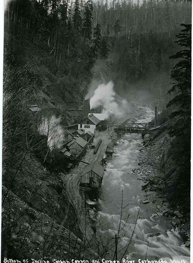 Bottom of Incline, Carbon Canyon and Carbon River, Carbonado, Wash.