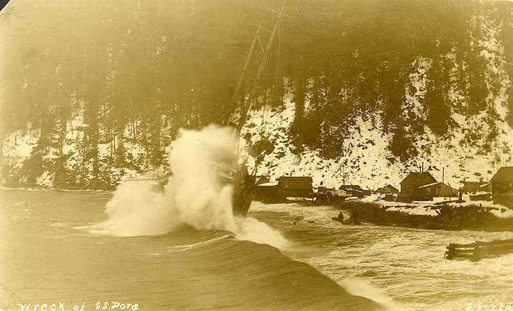 Wreck of the S. S. Dora at Seward Alaska  ca. 1912